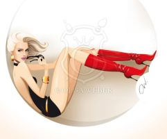 Lifestyle illustration: beauty in red boots by Ollustrator