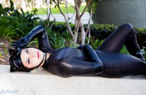 Catwoman Cosplay (Catnap time) by SapphireEagle