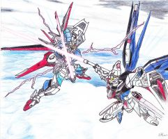 Freedom Gundam vs. Force Impulse Gundam by crazygundamfan12