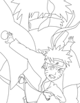 naruto and 4th lineart by sugarbearkitty