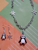 Parure with penguin, snowflakes and pearls fimo by bimbalove81