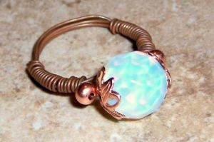 Mystic Opalite Orb Wire Ring by BeanzBeads