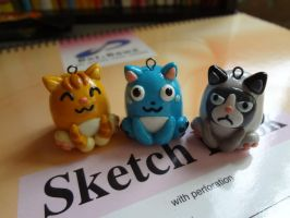 chibi egg shape cats charms by dsam4