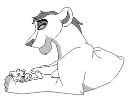 Happy lioness with a baby cub base by kopaisfluffy