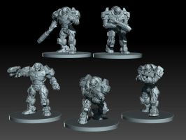 Pose sketch, Peacekeepers for Mantic Games by zelldweller
