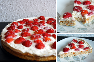 Bananapie with Strawberries and Coconut by baerin