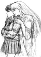 Inu-Yasha - Kagome redrawn by heatherbunny