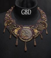 Copper Rock Dragon necklace by gbdreams