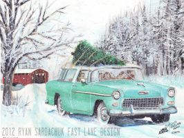 Christmas Driving (1955 Chevy Nomad Painting) by FastLaneIllustration