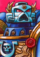 Space Marine 40k Sketch Card by Chad73