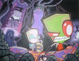 Invader Zim Painting by Leesie