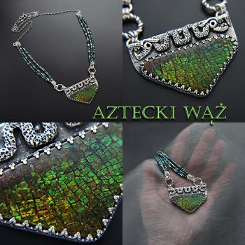 Aztec snake - silver necklace with Ammolite by KorneliaSus