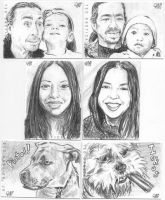 Family Portrait Sketch Cards by tdastick