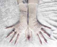 Stasya Lace Fingerless Gloves by ZenAndCoffee