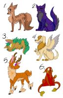 Adoptables -batch 1- [Open] by LaughingZoroark