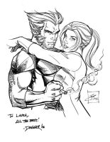 Wolverine and Kitty for Laura by DaggerPoint