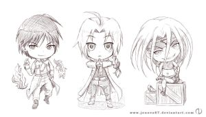 FMA Chibis : Roy, Ed, Envy [Sketch] by Jenova87