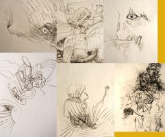 two rows of three drawings all from the brain by jspsfx