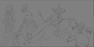 bad-ass Yo Gabba Gabba wip outlines by cyngawolf