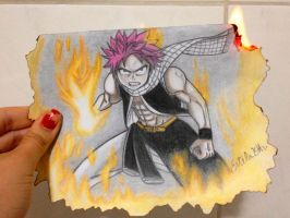 Natsu actually ON FIRE! by EstelaBA