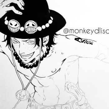 WIP- Portgas D. Ace from One Piece by monkeydlisa