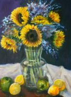 Sun Flowers in Oils by Wulff-Arts