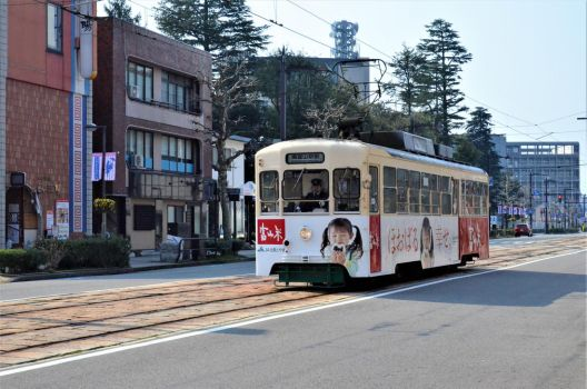 A street of Toyama with a tram. by TFuruhashii