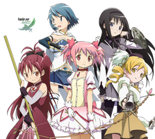 Puella Magi Madoka Magica - Group 1 Render by anouet