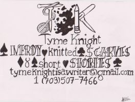 Tyme Knight: Business card by hellyeahyummyyaoi