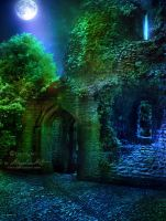 Ruins at Night by AngeliaArt
