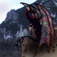 Dragon on a castle by inidis