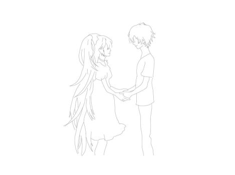 Boy and girl line drawing by MrBubbleFish