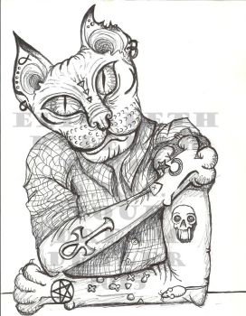 Tattooed Anthro Sphynx by NewdleKaBewdle