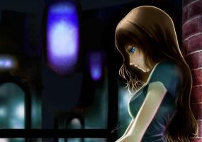 girl with brown hair and blue eyes by MissusTaylorHatake