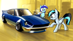 Commission - 240Z and 2 ponies by Dori-to