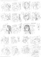 Random strips thing with guys and ocs and kisses by D-Kitsune