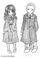 Draco and Hermione First Years by snowcyclonedragon