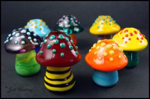 Glass Lampwork Dreadlock Beads - Mushrooms by andromeda