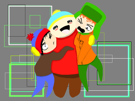 Cartman hugs Stand and Kyle by Durrender