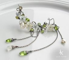 Silver ear cuffs Apple rain by JSjewelry