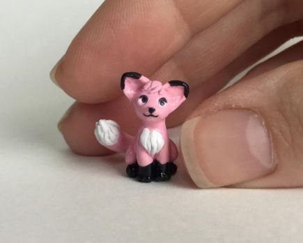 Tiny pink fox by LittleClayLamb