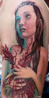color girl tattoo hart blood by Remistattoo