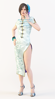 Ada Wong Chinese Dress Render Taunt Pose by Ada-Momiji-Forever