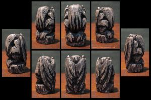 Squat 6 Eyed Wooden Cthulhu Idol with Simple Base by CopperCentipede