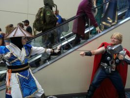 Thor vs. Raiden by NokturnaMortum