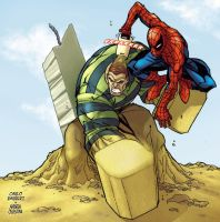 Spiderman VS Sandman by AndreaCelestini