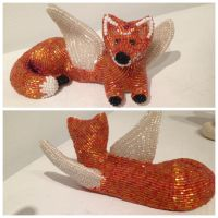Beaded Fox with Wings Whose Name is Spoons by victoriasoriginalart