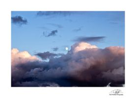 Moon and clouds - with border and sig by Paul-Madden