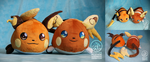 Raichu and Alola Raichu polochon custom plush by Peluchiere