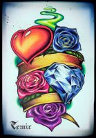 Heart with roses by TimHag